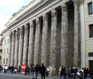 Hadrian's Temple, Rome, with crowds