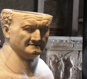 Head of Vespasian, displayed at the Curia, Roman Forum
